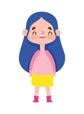 cute girl expression emotion gesture cartoon vector illustration