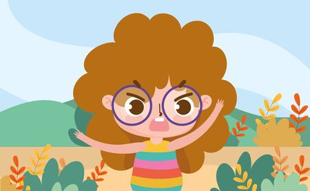 little girl expression facial nature landscape background cartoon vector illustration Illustration