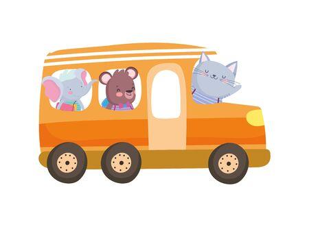 Volver a la educación escolar lindo elefante oso y gato en la ilustración de vector de transporte de autobús Ilustración de vector