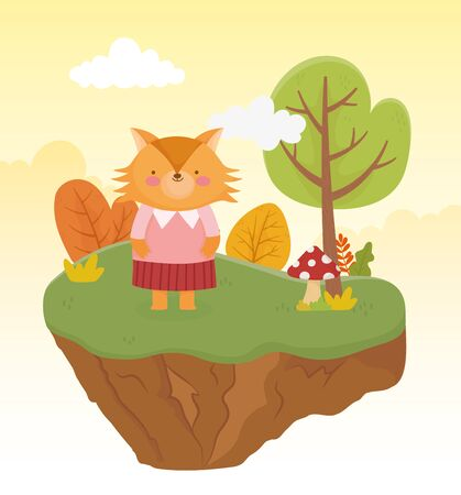 cute fox with female clothes forest nature landscape vector illustration Ilustrace
