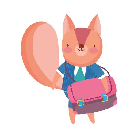 back to school education cute squirrel with clothes and schoolbag vector illustration