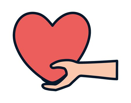 hand holding big heart charity and donation vector illustration
