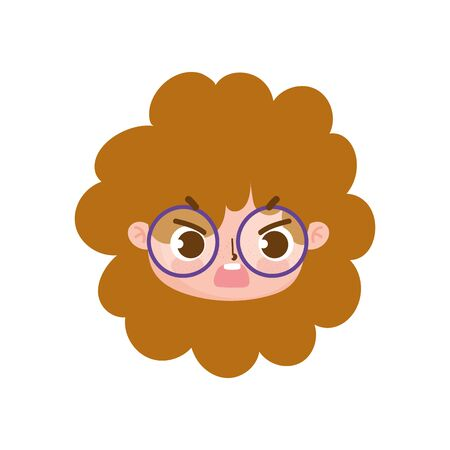 cute face curly hair girl with glasses facial expression vector illustration Illustration