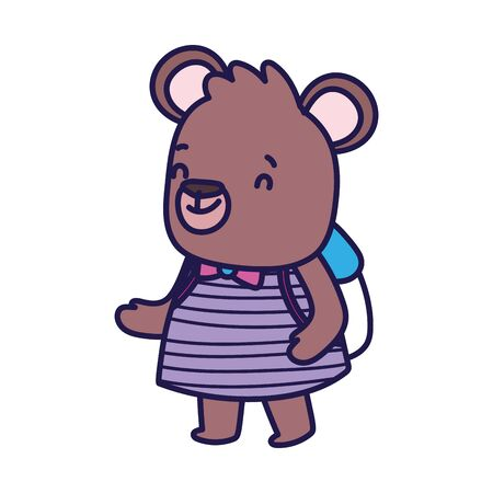 back to school education cute bear female with backpack vector illustration