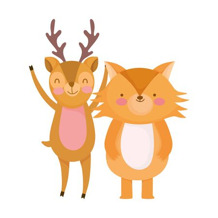 cute deer and fox cartoon on white background vector illustration