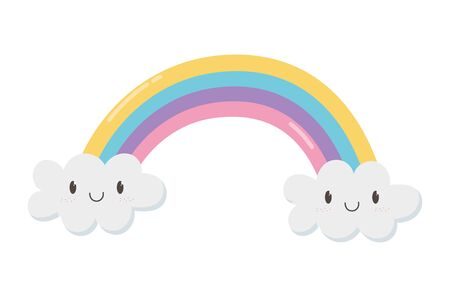 cute rainbow clouds kawaii fantasy cartoon character on white background vector illustration