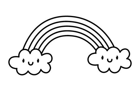 cute rainbow clouds kawaii fantasy cartoon character on white background vector illustration thick line Vectores