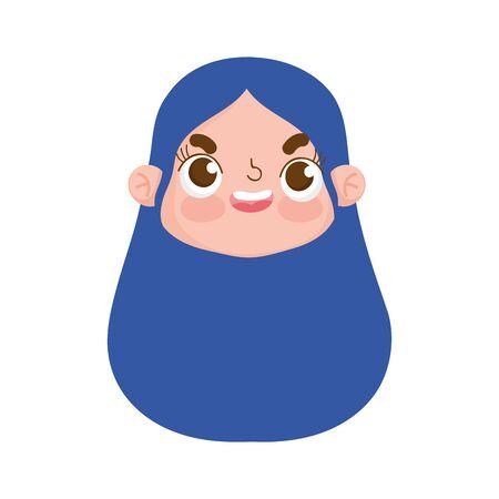 cute face girl expression facial long hair design vector illustration