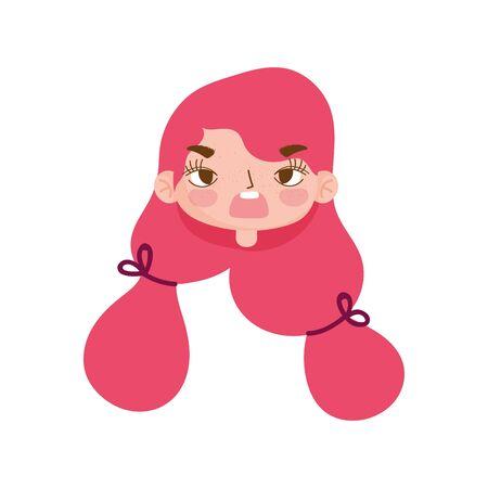 cute girl face expression facial gesture hair ponytails cartoon vector illustration Illustration