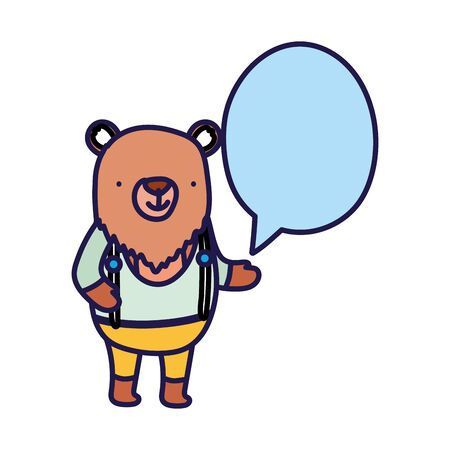 cute bear with clothes speech bubble cartoon on white background vector illustration Illustration