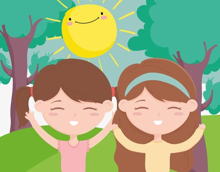happy childrens day, smiling boy and girl celebrating outdoors vector illustration