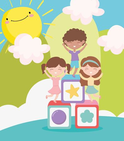 happy childrens day, cute girls and boy playing blocks cartoon landscape Vectores