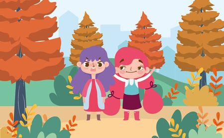 little girls cartoon character facial expression landscape nature background