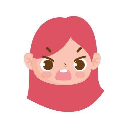cute face little girl expression facial cartoon vector illustration Illustration