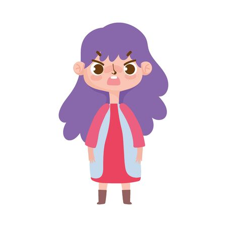 little girl with purple hair and gesture facial Illustration