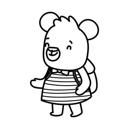 back to school education cute bear female with backpack vector illustration thick line