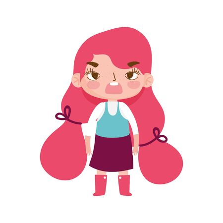little girl gesture with long hair pony tail style cartoon vector illustration
