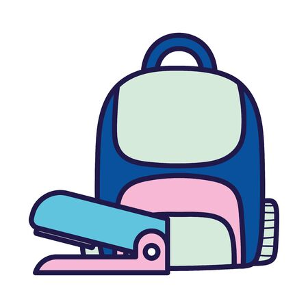 back to school education backpack and stapler supplies icons