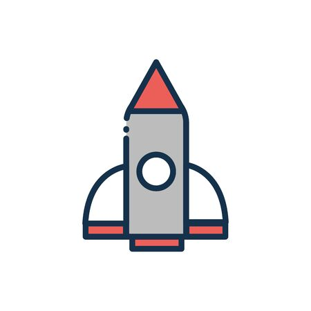 rocket discovery travel astronomy and space on white background vector illustration