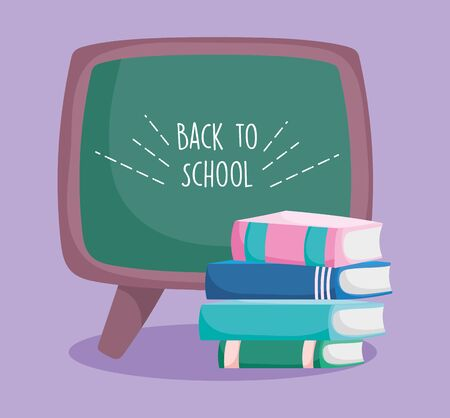 back to school education stacked books and chalkboard vector illustration 일러스트