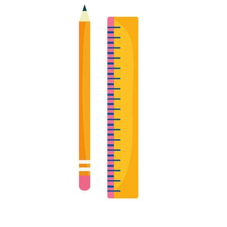 back to school education wooden pencil and ruler geometric measure vector illustration Ilustracja