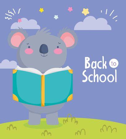 back to school education cute koala reading book knowledge