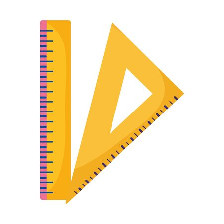 back to school education triangle ruler and ruler measure icons