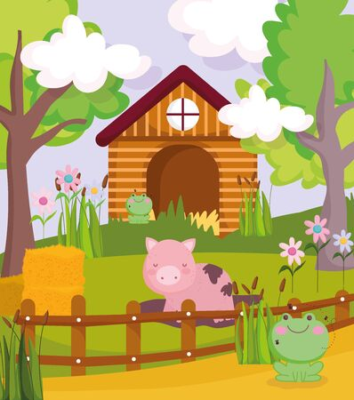 pig in mud frogs hay house trees fence farm animals