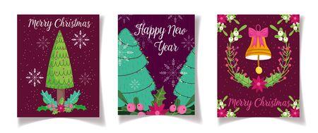 tree bell flower leaves celebration merry christmas and new year poster Ilustração