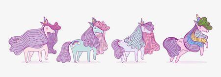 set of cute unicorns fantasy magic cartoon Ilustração