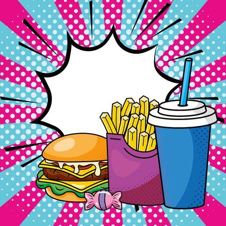 hamburger french fries and soda