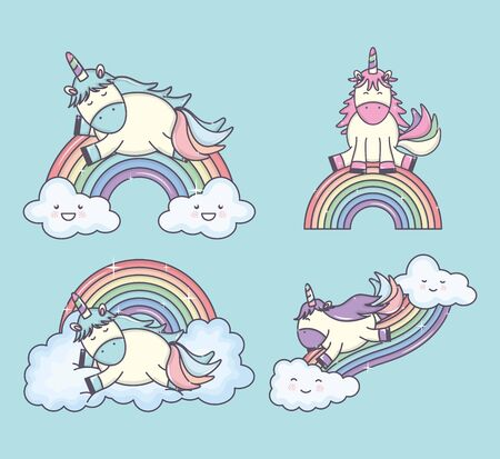 group of cute unicorns with rainbows and clouds characters Ilustração