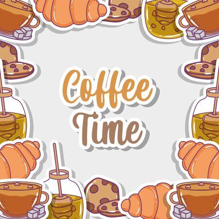coffee time sketch flat design Ilustração