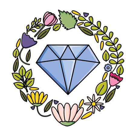 diamond rock jewelry with floral wreath pop art style