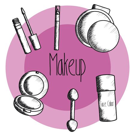 set of make up accessories drawing Ilustracja