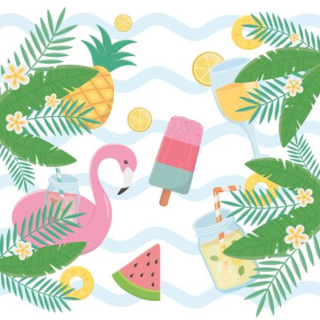 summer holiday poster set icons