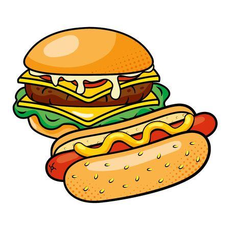 hamburger and hot dog vector illustration