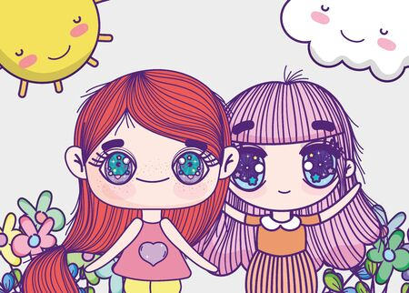 kids, little girls anime cartoon flowers sunny day 向量圖像