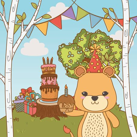 Lioness cartoon with happy birthday icon design