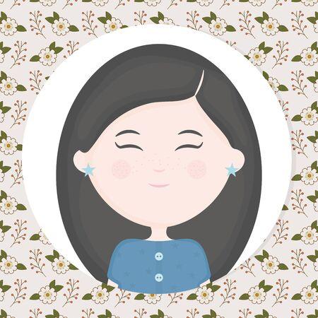 girl portrait flowers background label cartoon  イラスト・ベクター素材