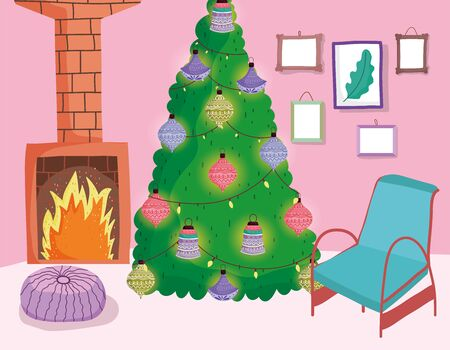 christmas tree with balls and lights chimney chair cushion pictures home