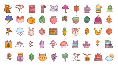 hello autumn design icons collection Ilustração
