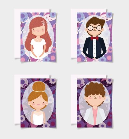 wedding couple, grooms and brides flowers border cards Иллюстрация