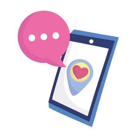 social media smartphone pointer location love heart speech bubble vector illustration
