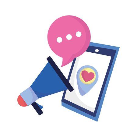 social media smartphone megaphone love speech bubble vector illustration  イラスト・ベクター素材