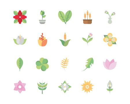 flower foliage decoratiopn natural floral botanical icons set illustration