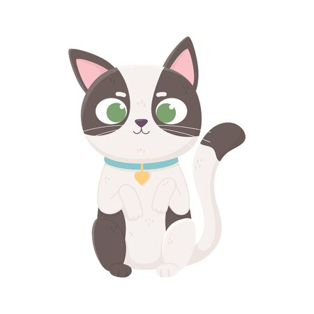 little cat spotted with collar domestic, pets vector illustration Stock Illustratie