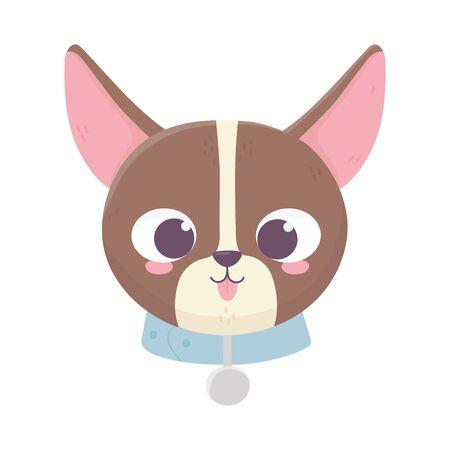 cute face dog tongue out collar medallion domestic cartoon animal, pets vector illustration