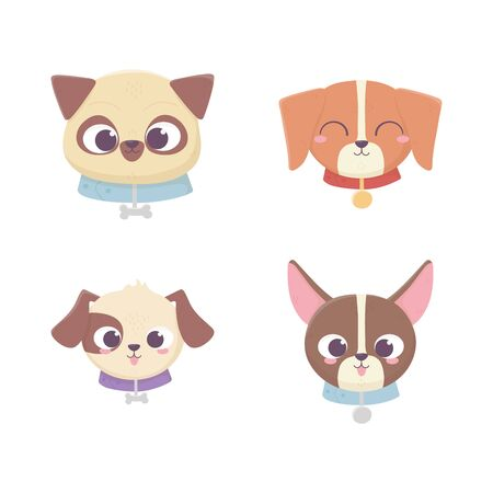 cute faces dog different pedigree domestic cartoon animal, collection pets  イラスト・ベクター素材