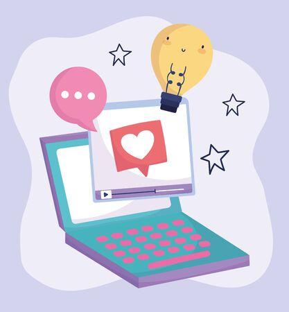social media laptop computer video speech bubble creativity